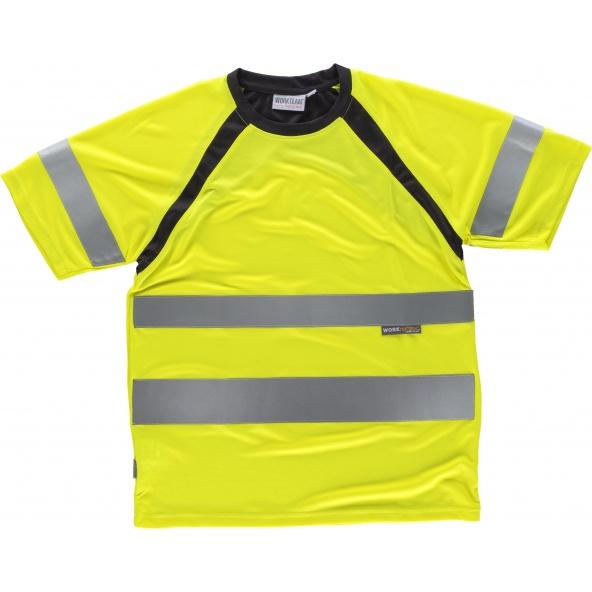 Comprar Camiseta tejido transpirable C2941 Amarillo AV+Negro workteam delante
