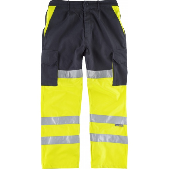 Comprar Pantalon multibolsillos con refuerzos C3214 Marino+Amarillo AV workteam delante