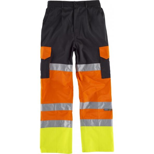 Comprar Pantalon multibolsillos con refuerzos C3216 Negro+Naranja AV+Amarillo AV workteam delante