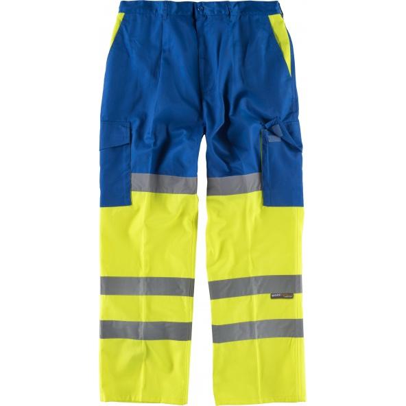 Comprar Pantalon multibolsillos con refuerzos C3314 Azulina+Amarillo AV workteam delante