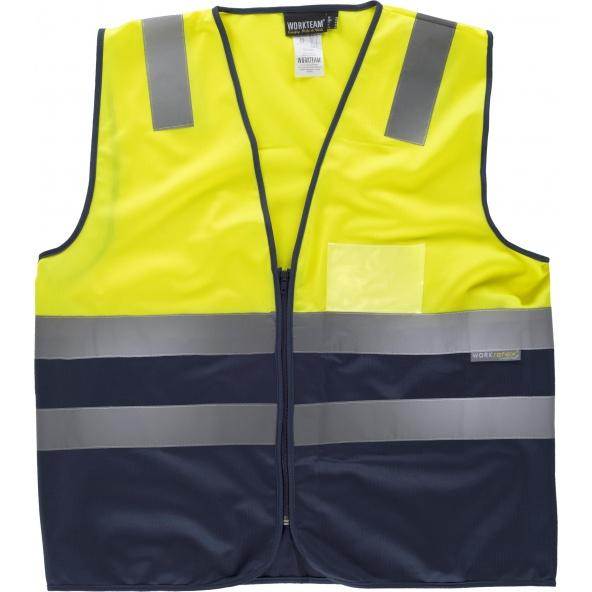 Comprar Chaleco con bolsillo transparente C3615 Amarillo AV+Marino workteam delante