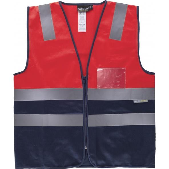 Comprar Chaleco con bolsillo transparente C3617 Rojo AV+Marino workteam delante