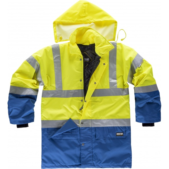 Comprar Parka impermeable ambientes frios C3711 Azulina+Amarillo AV workteam delante