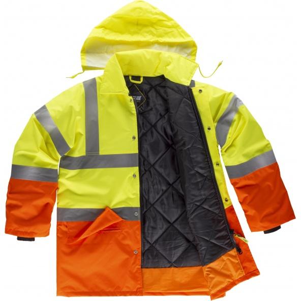 Comprar Parka impermeable ambientes frios C3716 Amarillo AV+Naranja AV workteam delante