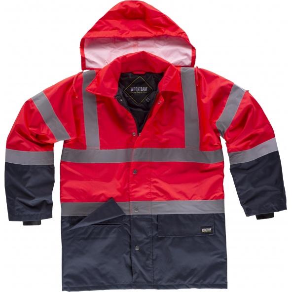 Comprar Parka impermeable ambientes frios C3717 Rojo AV+Marino workteam delante