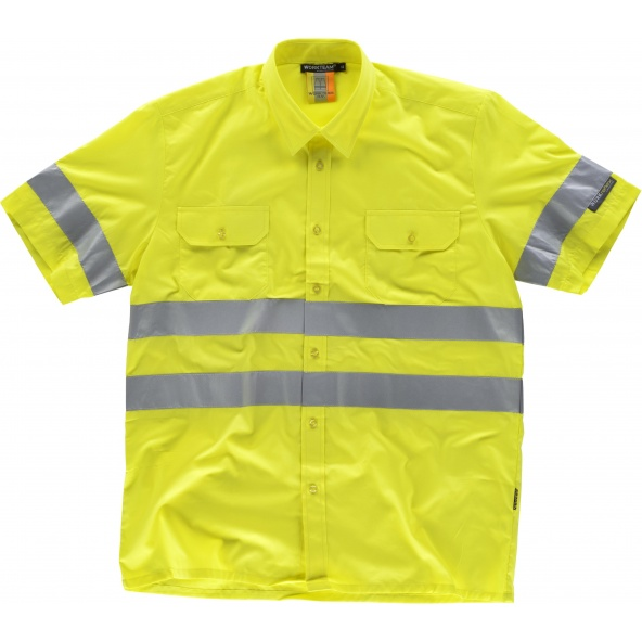 Comprar Camisa reflectante manga corta C3810 Amarillo AV workteam delante