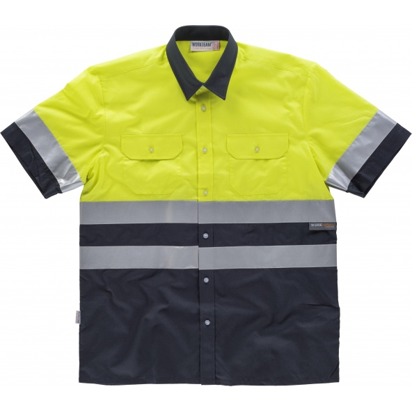 Comprar Camisa reflectante manga corta C3811 Marino+Amarillo AV workteam delante