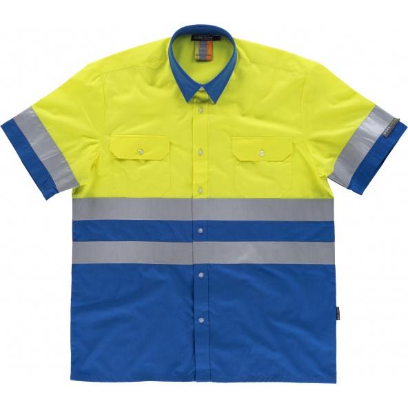 Comprar Camisa reflectante manga corta C3812 Azulina+Amarillo AV workteam delante