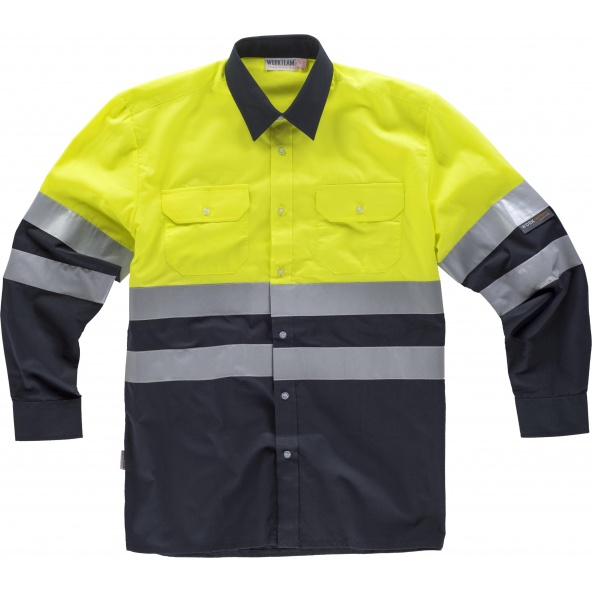 Comprar Camisa reflectante manga largaC3813 Marino+Amarillo AV workteam delante
