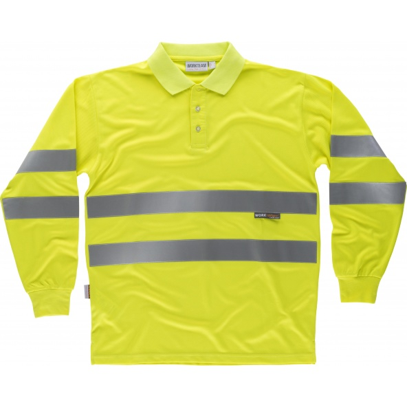 Comprar Polo reflectante manga larga C3833 Amarillo AV workteam delante