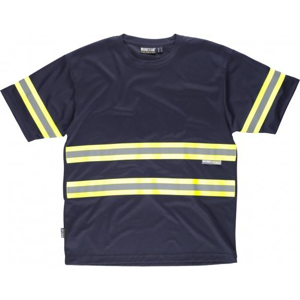 Comprar Camiseta con cintas fluorescentes C3936 Marino+Amarillo AV workteam delante