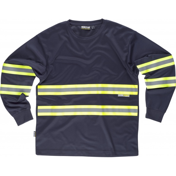 Comprar Camiseta con cintas fluorescentes C3937 Marino+Amarillo AV workteam delante