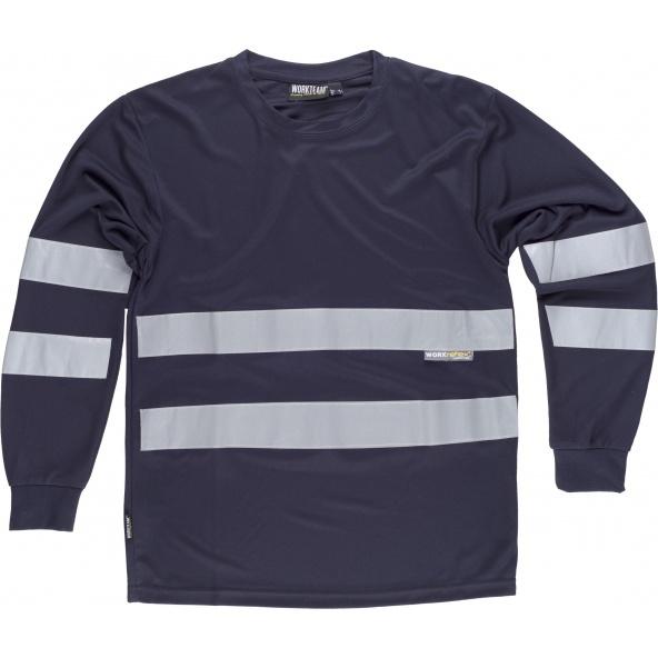 Comprar Camiseta con cintas reflectantes C3938 Marino workteam delante