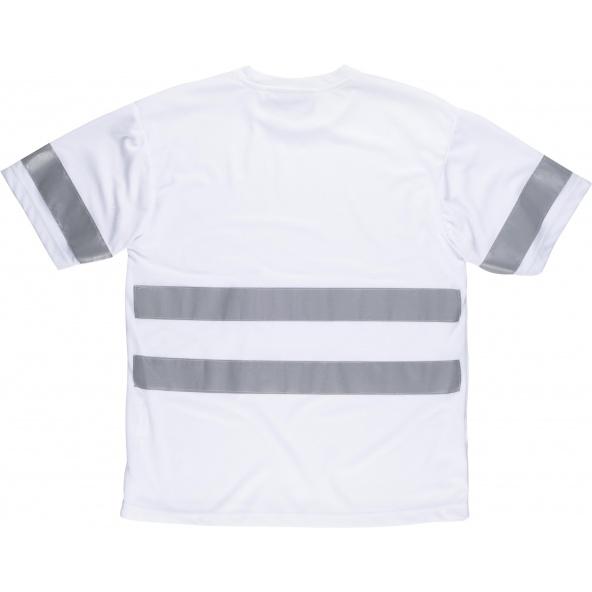 Camiseta con cintas reflectantes C3939 Blanco workteam atrás barato