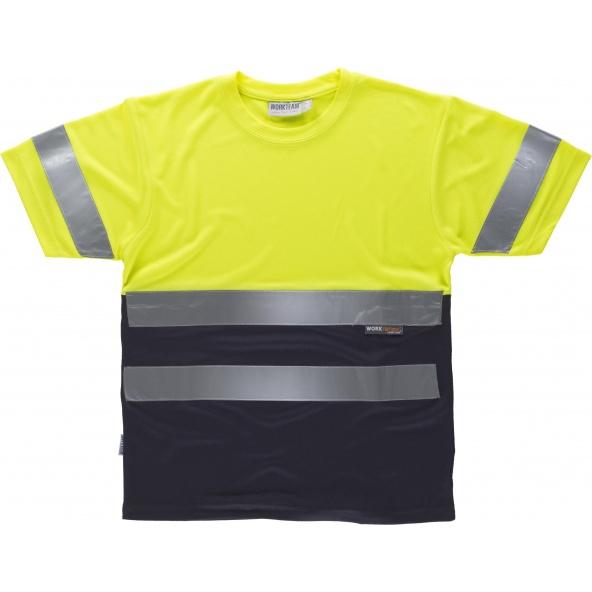 Comprar Camiseta transpirable C3941 Amarillo AV+Marino workteam delante