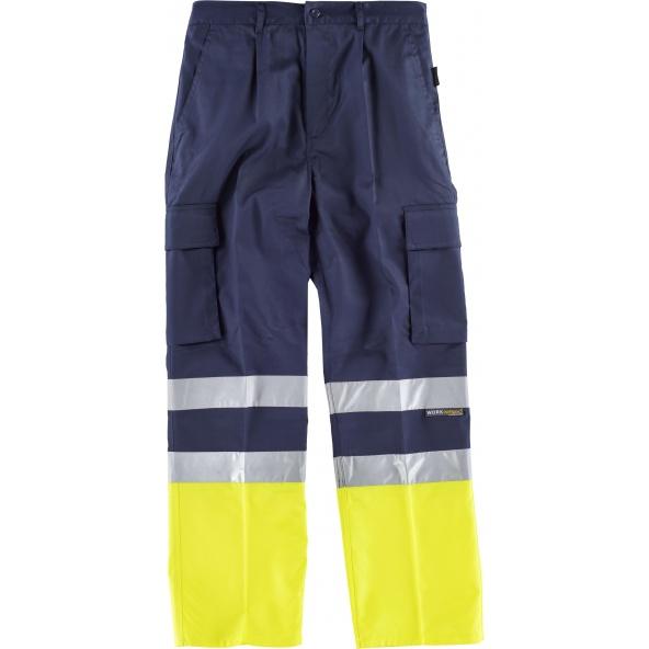 Comprar Pantalon con refuerzos C4014 Marino+Amarillo AV workteam delante