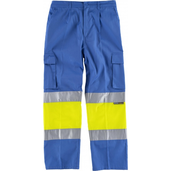Comprar Pantalon multibolsillos C4018 Celeste+Amarillo AV workteam delante