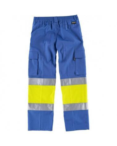 Pantalon multibolsillos C4018 Celeste+Amarillo AV workteam atrás barato