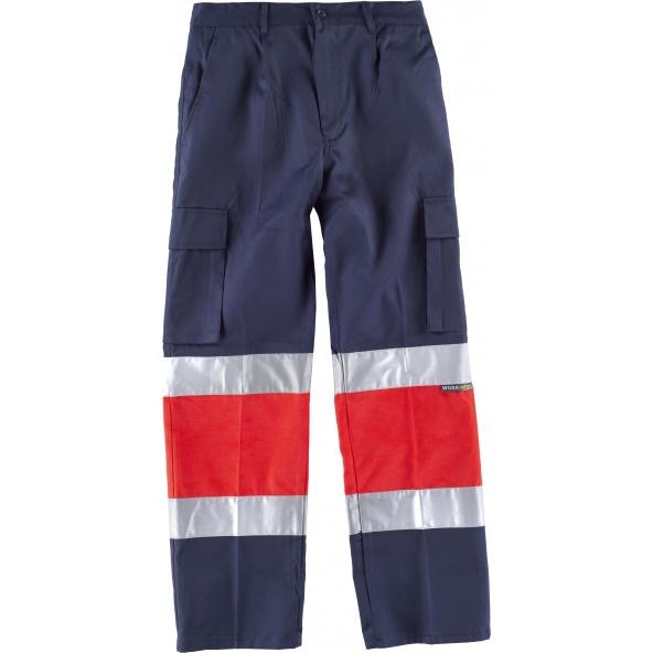 Comprar Pantalon multibolsillos C4057 Marino+Rojo AV workteam delante