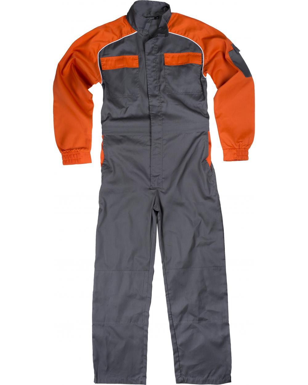 Comprar Buzo de trabajo combinado C4503 Gris+Naranja workteam delante