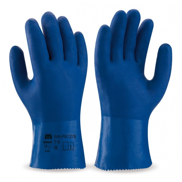 Comprar Guante De Pvc Estanco De 27 Cm. En Color Azul De Doble Capa Rugosa barato