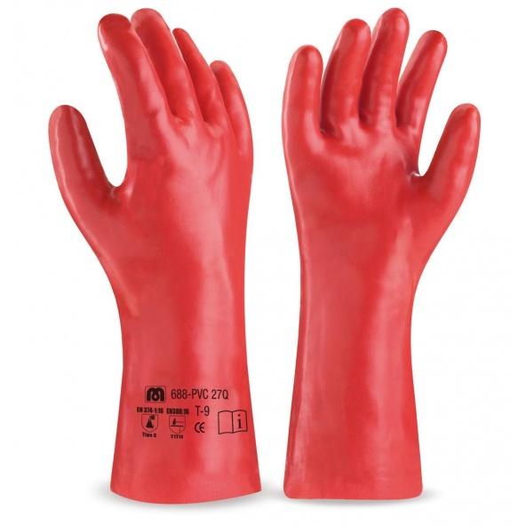 Comprar Guante De Pvc Estanco De 27 Cm. En Color Rojo Para Riesgos