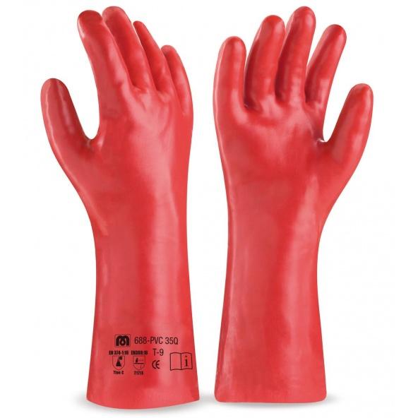 Comprar Guante Largo De Pvc Estanco De 35 Cm. En Color Rojo Para Riesgos