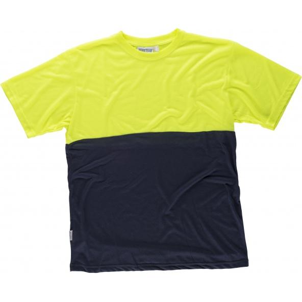 Comprar Camiseta de poliester tacto algodón C6020 Marino+Amarillo AV workteam delante