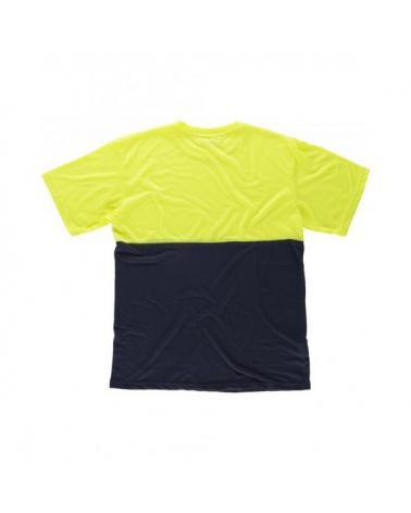 Camiseta de poliester tacto algodón C6020 Marino+Amarillo AV workteam atrás barato