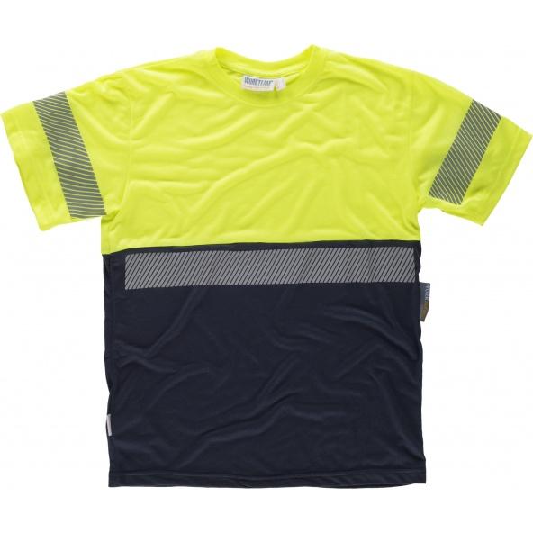 Comprar Camiseta tacto algodón con cintas reflectantes C6030 Marino+Amarillo AV workteam delante