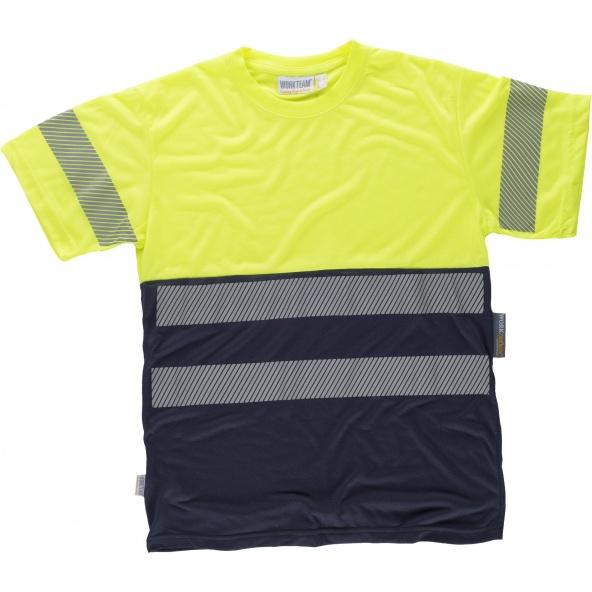 Comprar Camiseta tacto algodón con cintas reflectantes C6040 Marino+Amarillo AV workteam delante