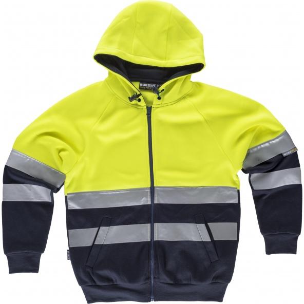 Comprar Sudadera con capucha y cintas reflectantes C9036 Amarillo AV+Marino workteam delante