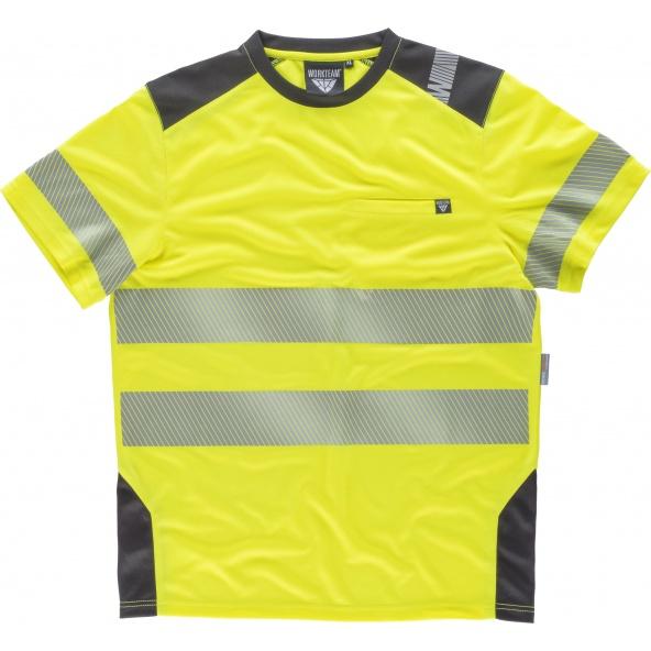 Comprar Camiseta transpirable con cintas reflectantes C2941 Amarillo AV+Gris Oscuro workteam delante