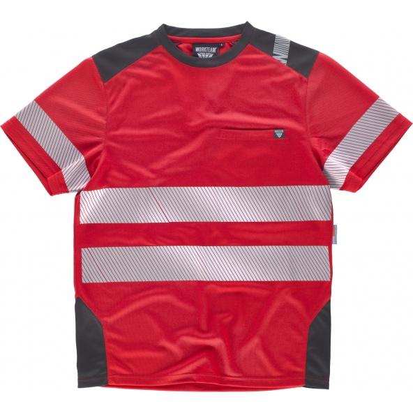 Comprar Camiseta transpirable con cintas discontinuas C2942 Rojo+Gris Oscuro workteam delante