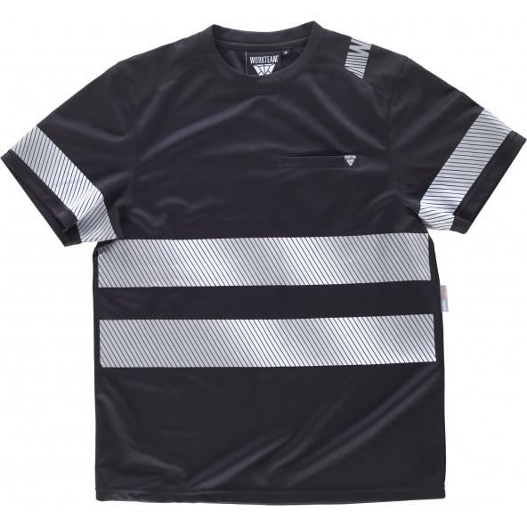 Comprar Camiseta con cintas discontinuas C2943 Negro workteam delante