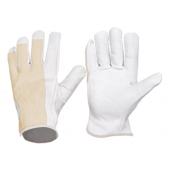Comprar Guantes de piel y dorso algodon G1501 - Pack de 12 pares Blanco workteam barato