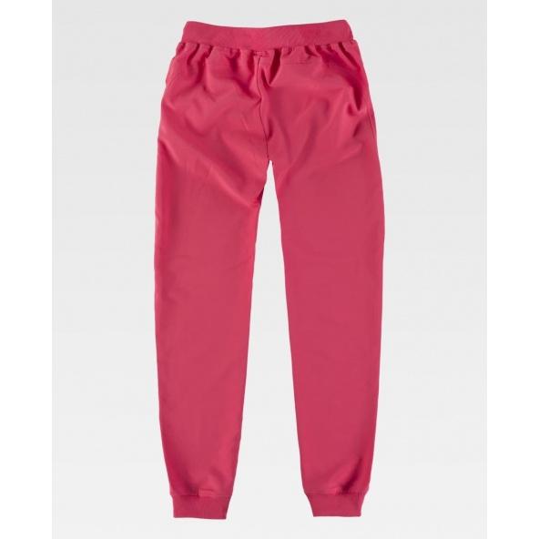 pantalon de pijama sanitario fucsia para mujer Workteam B6930 con tejido elastico