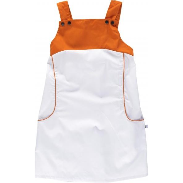 Comprar Pichi combinado con tirantes M2010 Blanco+Naranja workteam delante