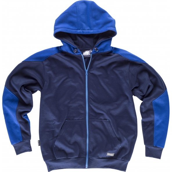 Comprar Sudadera con capucha tejido elastico S5530 Marino+Azulina workteam delante