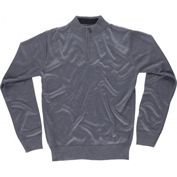 Comprar Jersey de punto fino y cuello alto S5601 Gris workteam delante