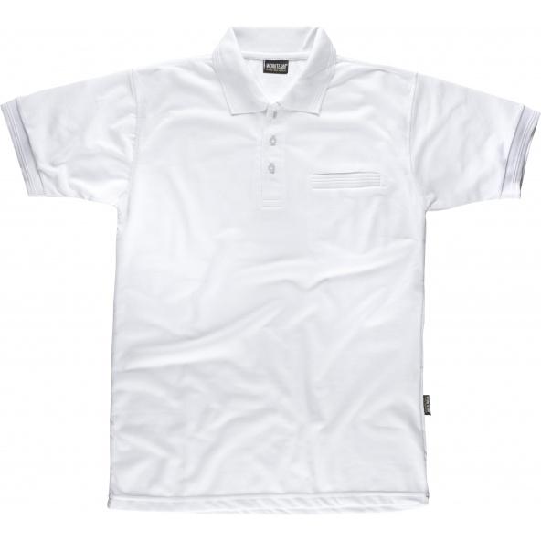 Comprar Polo liso con bolsillo S6502 Blanco workteam delante