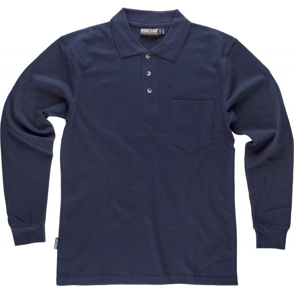 Comprar Polo de algodon manga larga con bolsillo S6508 Marino workteam delante