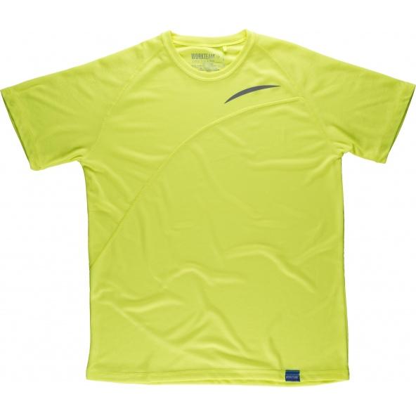 Comprar Camiseta tecnica colores fluor S6610 Amarillo AV workteam delante