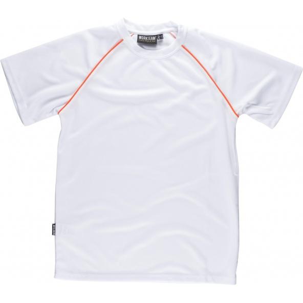 Comprar Camiseta tecnica S6640 Blanco+Naranja AV workteam delante