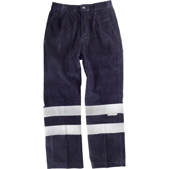 Comprar Pantalon pana con cintas reflectantes S7016 Marino workteam delante