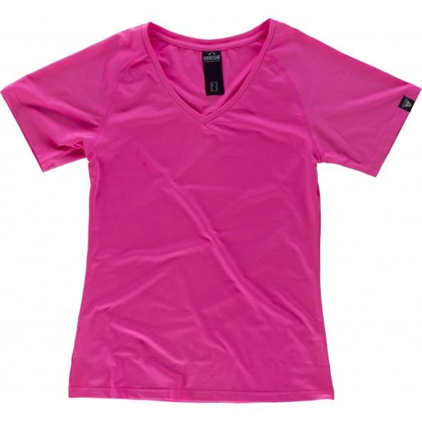 Comprar Camiseta deportiva para mujer S7525 Rosa Fluor workteam delante