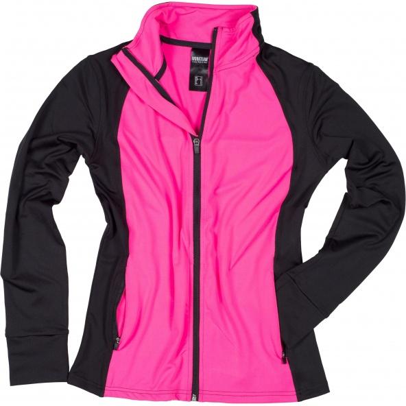 Comprar Chaqueta deportiva entallada para mujer S7550 Negro+Rosa Fluor workteam delante