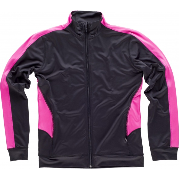 Comprar Chaqueta deportiva entallada para mujer S7551 Negro+Rosa Fluor workteam delante
