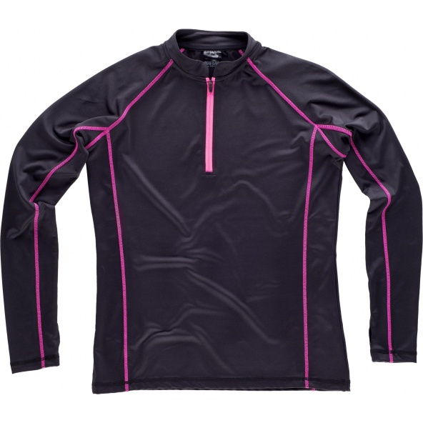 Comprar Sudadera deportiva entallada para mujer S7555 Negro+Rosa Fluor workteam delante