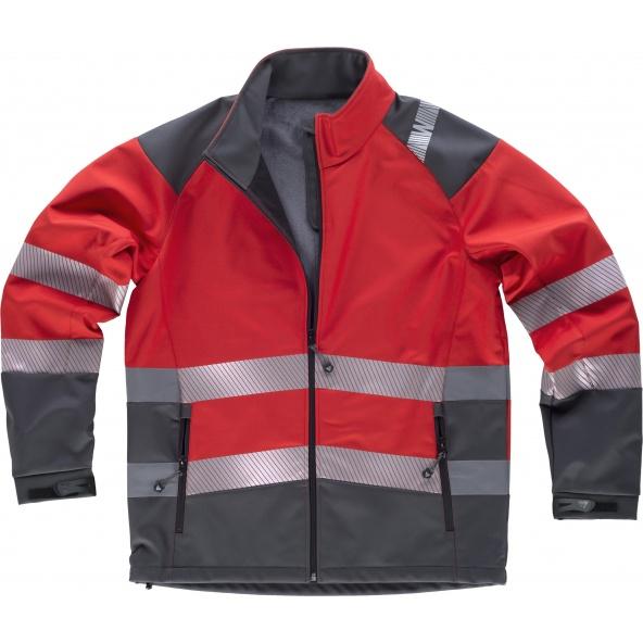 Comprar Workshell con membrana cortavientos S9202 Rojo+Gris Oscuro workteam delante